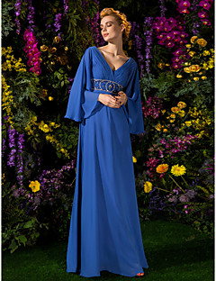 LAN TING BRIDE A-line Plus Size Petite Mother of the Bride Dress - Vintage Inspired Floor-length Long Sleeve Chiffon withBeading Crystal