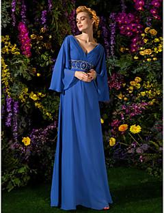 A-Lijn Vloer Lengte Doek Bruidsmoederjurken - Koningsblauw Lange mouw