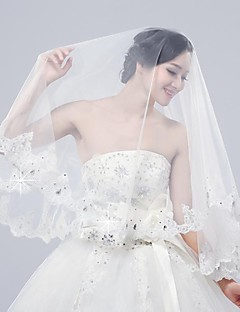 2015 Preheated Wedding Apparel Wedding Accessories Wedding Veils Charming Beaded Two Tiers Two Colors Veil BR6181009