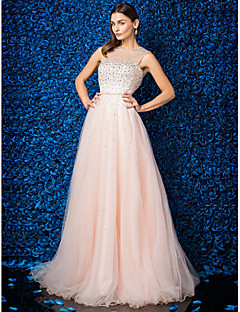 Dress - Pearl Pink Plus Sizes / Petite A-line Jewel Floor-length Tulle