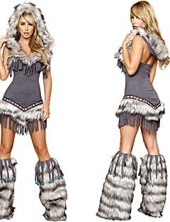 Sexy Cute Tassels Gray Fur Adult Women's Halloween Costumefor Carnival