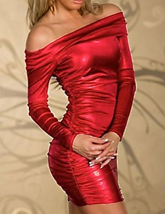 Women's Club Bodycon Dress,Solid Off Shoulder Mini Long Sleeve Red Polyester / Spandex All Seasons