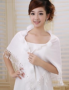 Wedding Cotton / Faux Fur Shawls Sleeveless Fur Wraps