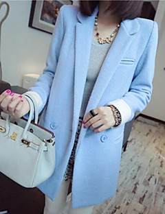 Women's Trench Coat,Solid Long Sleeve Spring / Fall / Winter Blue / Red / Brown Polyester Medium