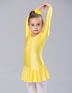 Kids' Dancewear Dresses Women's / Children's Spandex 1 Piece Yellow Ballet Long Sleeve Dress
