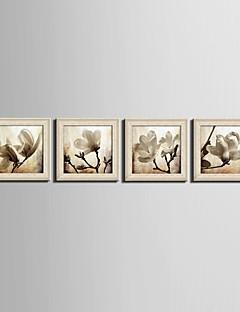 Virágos / Botanikus Fantasy Bekeretezett vászon Bekeretezett szett Wall Art,PVC Anyag Bézs Háttéranyag nélkül a Frame For lakberendezési