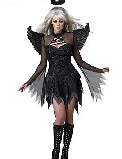 Evil Angel couro preto pu halloween traje do partido das mulheres