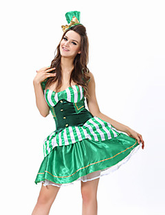 Cosplay Costumes / Party Costume Burlesque/Clown Festival/Holiday Halloween Costumes Green Patchwork Dress / T-Back / HatHalloween /