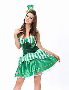 תחפושות קוספליי / תחפושת למסיבה ליצן פסטיבל/חג תחפושות ליל כל הקדושים ירוק טלאים שמלה / גב T / כובע האלווין (ליל כל הקדושים) / קרנבל נקבה