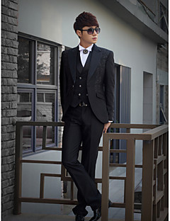 Black Print Slim Fit Tuxedo In Polyester