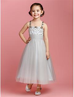 A-line/Prenses Ayak bileği uzunluk Tül Kolsuz Çiçek Kız Elbise