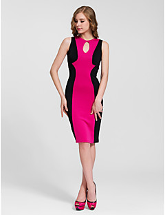 Cocktail Party Dress - Fuchsia/Ruby/White Sheath/Column Jewel Knee-length Cotton