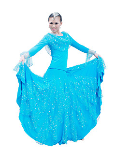 Ballroom Dance Outfits / Dresses Women's Performance / Training Mercerized Cotton Sequins Black / Light Blue / Red BallroomSpring, Fall,