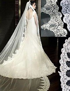One-tire Lace Edge White Wedding Dresses Bridal Veils(More Colors)