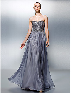 TS Couture® Formal Evening Dress Plus Size / Petite A-line Sweetheart Floor-length Tencel with Beading / Sequins
