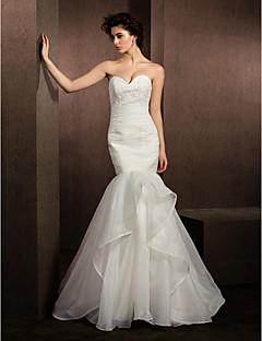 Fit & Flare Wedding Dress - Ivory Court Train Sweetheart Organza
