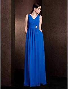 Lanting Bride® Na zem Šifón Šaty pro družičky - Pouzdrové Do V Větší velikosti / Malé s Kapsy / Šerpa / Stuha / Křišťálová brož