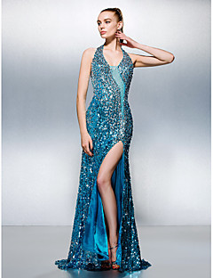 Dress Sheath/Column Halter Court Train Sequined