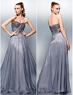 TS Couture Dress - Silver Plus Sizes / Petite A-line Sweetheart Floor-length Tencel