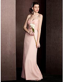 Floor-length Silk Bridesmaid Dress Sheath / Column Spaghetti Straps with Draping / Ruching