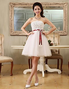 Cocktail Party Dress - Ivory Plus Sizes A-line / Princess Strapless Short/Mini Tulle