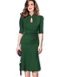 Women's Solid Black/Green/Purple Dress,Bodycon Halter Puff Sleeve