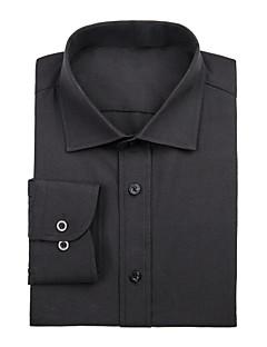 черный хлопка сплошной рубашка
