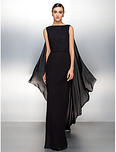 동창회 공식적인 이브닝 드레스 - 검은 칼집 / 열 BATEAU의 watteau 기차 쉬폰