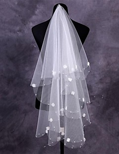 One-tier Tulle Fingertip Wedding Veils With Cut Edge