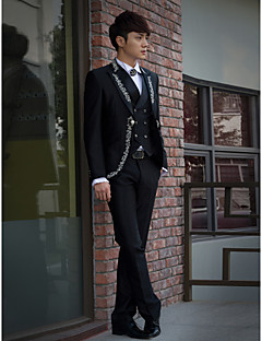 Black Embroidered Slim Fit Tuxedo In Polyester