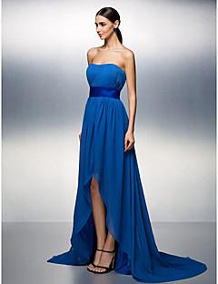 Fiesta de baile/Fiesta formal Vestido - Azul Real Corte A Asimétrico - Strapless Gasa