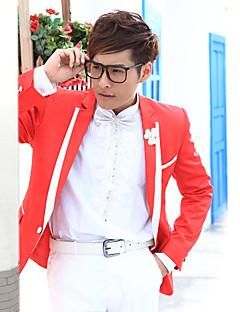 vermelho&sólido branco smoking slim fit em poliéster