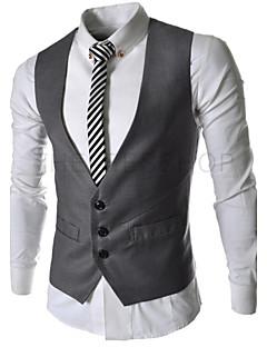 Herren Solide Anspruchsvoll Arbeit Blazer,V-Ausschnitt Ärmellos Standard Baumwolle Polyester