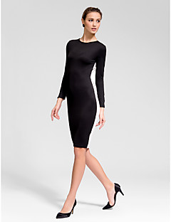 Cocktail Party Dress - Black Sheath/Column Jewel Knee-length Knit