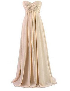 Floor-length Chiffon Bridesmaid Dress - Orange / Royal Blue / White / Black / Lavender / Champagne / Daffodil / Blushing Pink / Sage