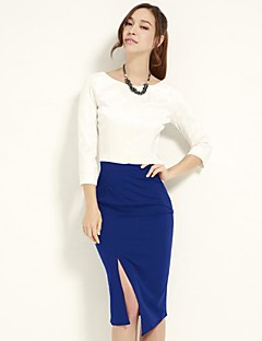 Women's Solid Blue/Black Skirts , Vintage/Sexy/Bodycon/Casual/Party/Work Knee-length Split
