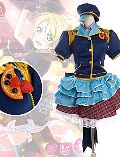 Inspirado por Amor en Vivo Eri Ayase Animé Disfraces de cosplay Trajes Cosplay Retazos Azul Manga Corta Top / Camisas / Falda / Tocados