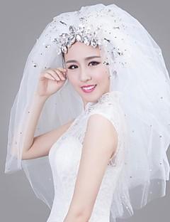 Свадебные вуали Четыре слоя 35,43 В (90 см) Атлас Белый