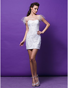 TS Couture® Cocktail Party Dress - See Through Plus Size / Petite Sheath / Column Scoop Short / Mini Sequined with Sequins