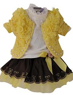 Menina de Conjunto Floral Misto de Algodão Primavera / Outono Rosa / Vermelho / Amarelo