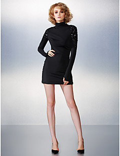 Cocktail Party Dress - Black Sheath/Column High Neck Short/Mini Jersey