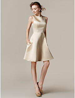 Knee-length Satin Bridesmaid Dress - Champagne A-line/Princess Bateau