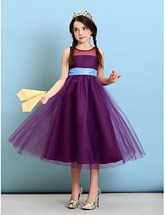Lanting Bride® באורך הקרסול טול שמלה לשושבינות הצעירות  גזרת A / נסיכה עם תכשיטים עם סרט