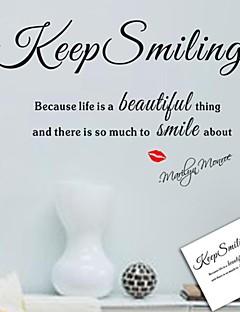 wall stickers Vægoverføringsbilleder, holde smilende engelske ord&citerer pvc wall stickers