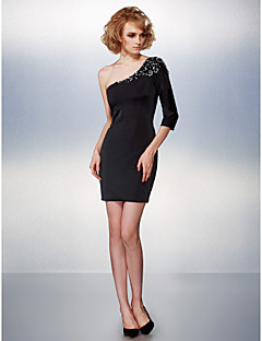 Homecoming Cocktail Party Dress - Black Sheath/Column One Shoulder Short/Mini Jersey