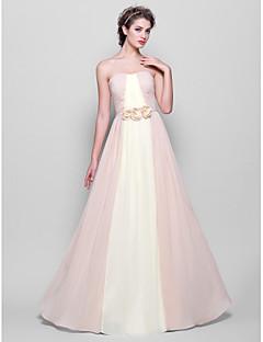 lanting-parole longueur robe en mousseline de demoiselle d'honneur - multi-couleur tailles plus / petite a-ligne bretelles