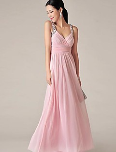 Floor-length Chiffon Bridesmaid Dress - Blushing Pink A-line V-neck