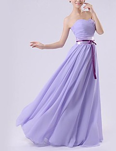 Floor-length Chiffon Bridesmaid Dress - Royal Blue / White / Watermelon / Beige / Purple / Ruby A-line Sweetheart