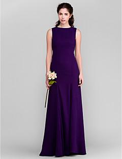 Lanting Bride® שובל סוויפ \ בראש ג'ורג'ט שמלה לשושבינה - מעטפת \ עמוד עם תכשיטים פלאס סייז (מידה גדולה) / פטיט עם