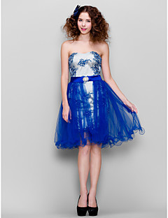 Homecoming Cocktail Party Dress - Royal Blue Sheath/Column Strapless Knee-length Lace/Tulle